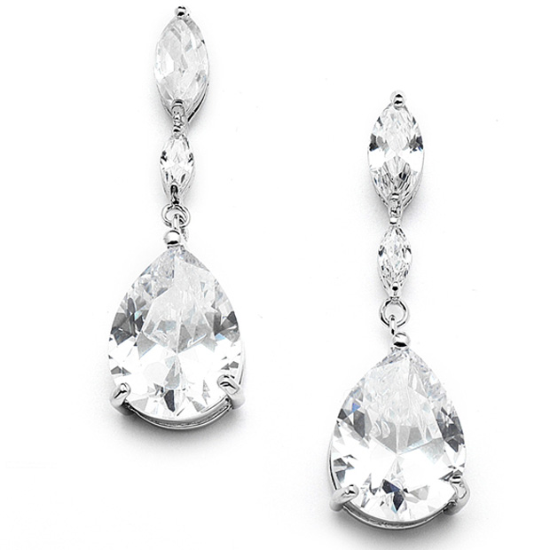Mariell Top Selling Cubic Zirconia Wedding Earrings with Dainty Marquise & Pear Drop
