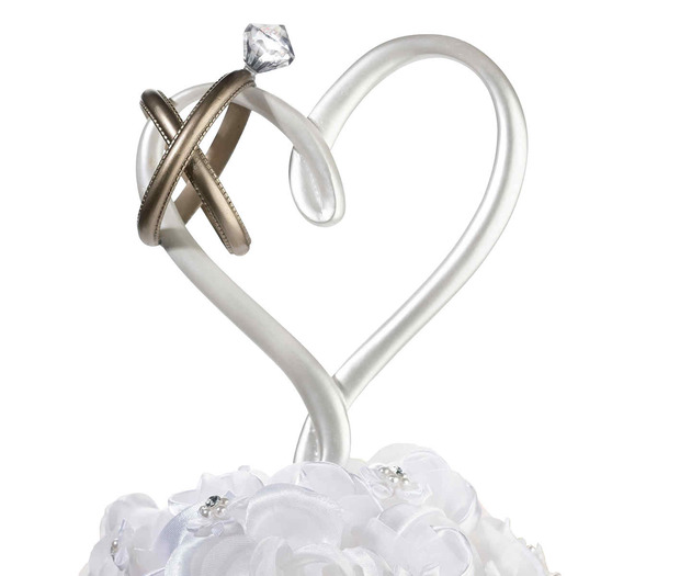 Lillian Rose Heart with Rings Cake Pick