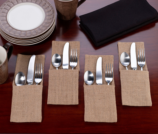 Lillian Rose Set of 4 Burlap Silverware Holders