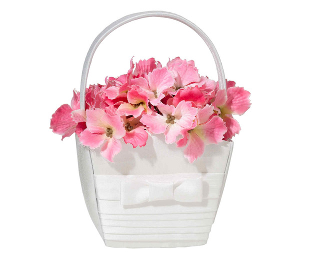 Lillian Rose White Pleated Silk Basket
