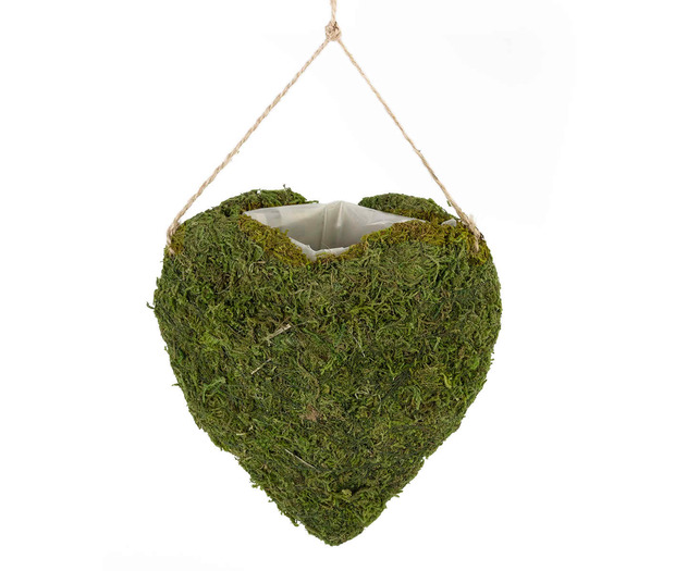 Lillian Rose Moss Hanging Open Heart Basket