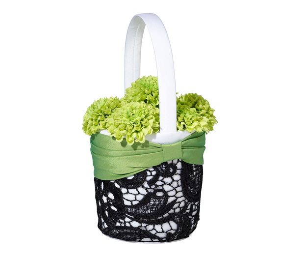 Lillian Rose Green & Black Flower Basket