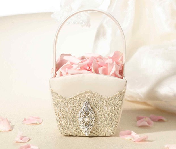 Lillian Rose Gold Lace Flower Basket