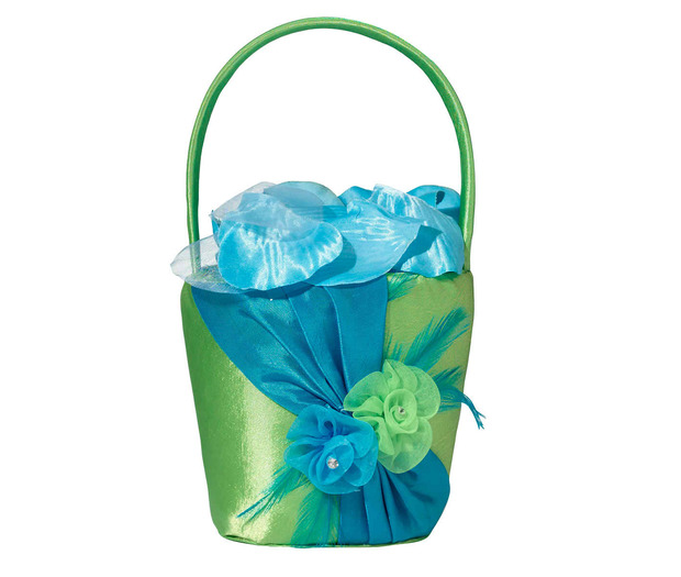 Lillian Rose Blue/Green Flower Basket