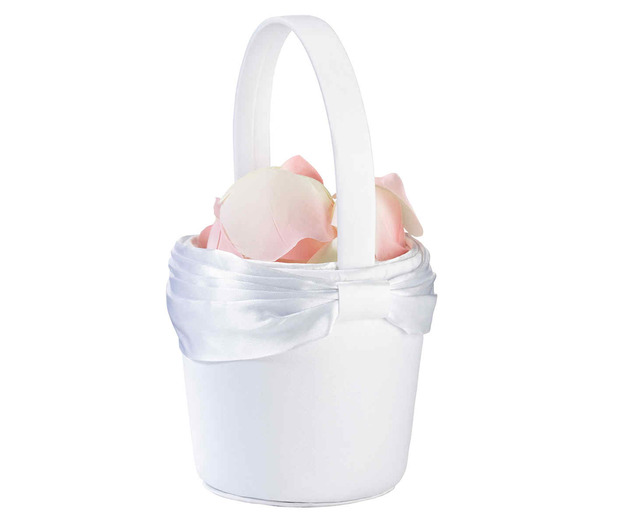 Lillian Rose White Sash Flower Basket