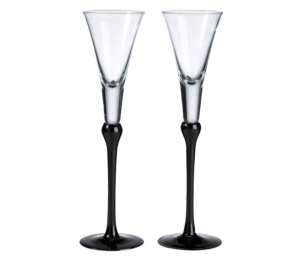 Lillian Rose Set of Tall Flutes - Black