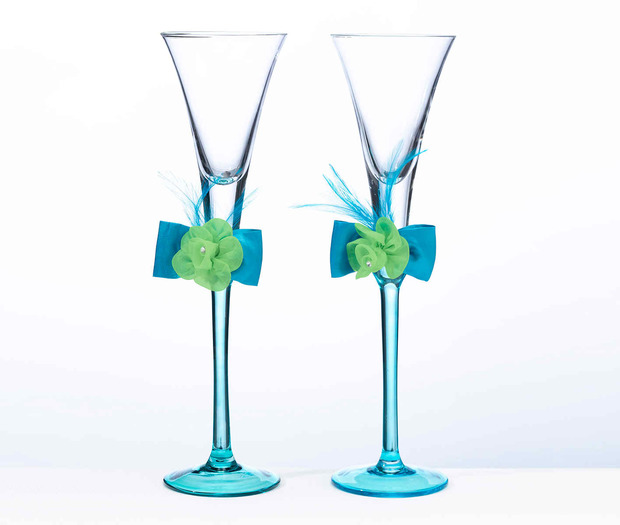 Lillian Rose Blue & Green Toasting Flutes