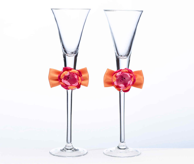 Lillian Rose Hot Pink & Orange Toasting Flutes