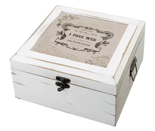 Lillian Rose Antique White Card Box - True Love