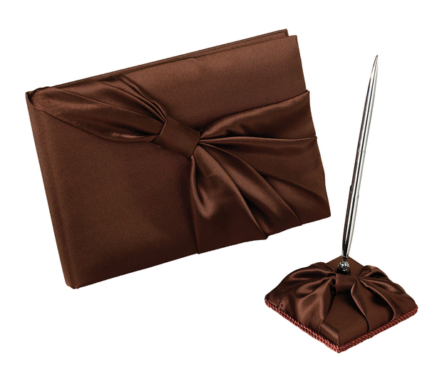 Lillian Rose Brown Satin Guest Book with Pen Set
