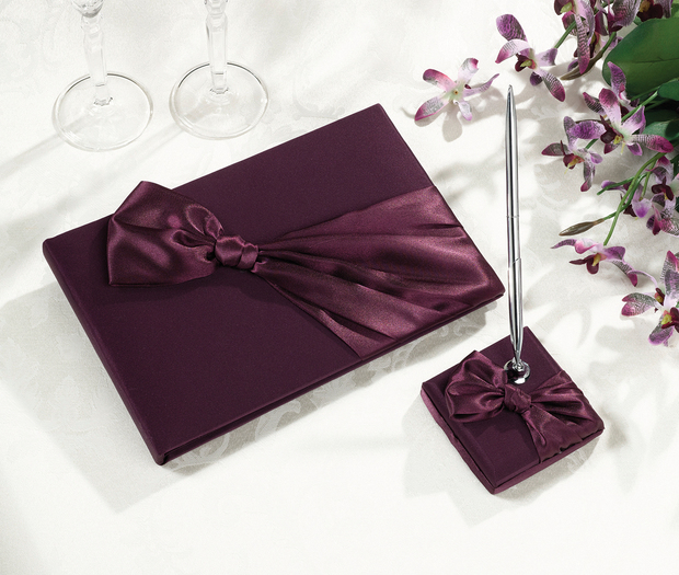Lillian Rose Plum Guest Book & Pen Set
