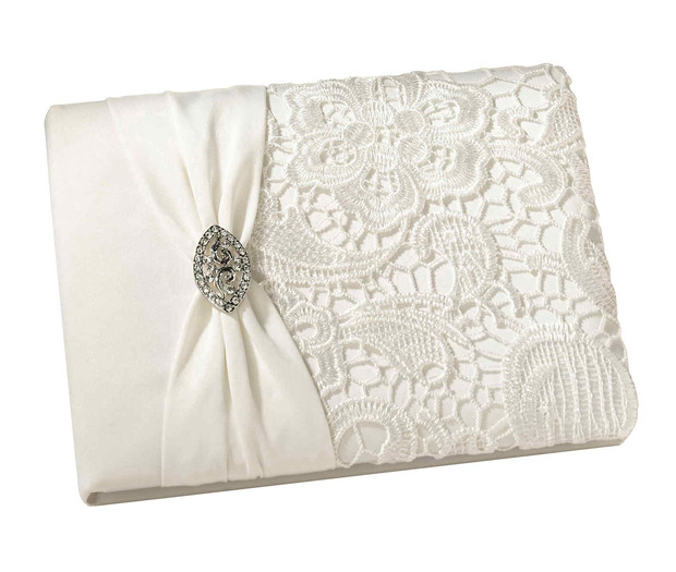 Lillian Rose Vintage Lace Guest Book -Cream
