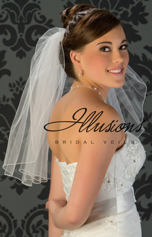 Illusions Bridal Corded Edge Veil 1-201-C: Pearl Accent