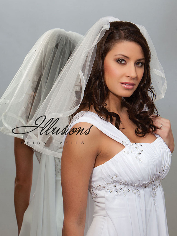 Illusions Bridal Ribbon Edge Veil 1-201-SR-RS: Pearl Accent
