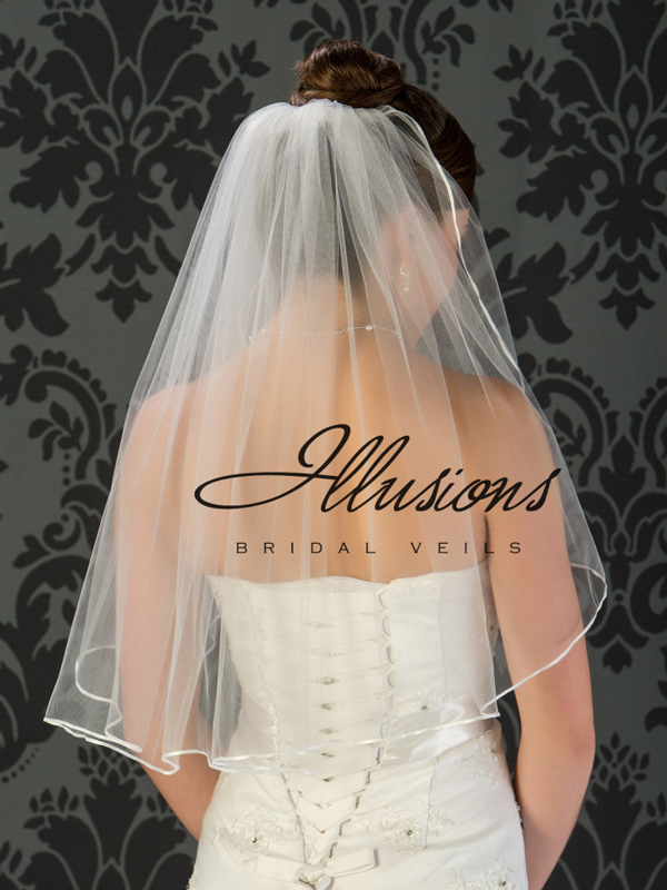 Illusions Bridal Ribbon Edge Veil 1-251-1R: Rhinestone Accent