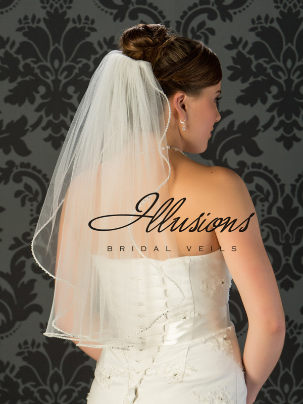 Illusions Bridal Pearl Edge Veil 1-251-PRS: Rhinestone Accent
