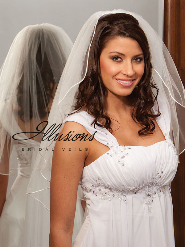Illusions Bridal Rattail Edge Veil 1-251-RT: Rhinestone Accent