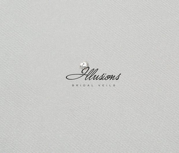 Illusions Bridal Ribbon Edge Veil 1-301-1R: Rhinestone Accent