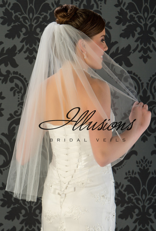 Illusions Bridal Cut Edge Wedding Veil 1-301-CT: Rhinestone Accent, Waist Length