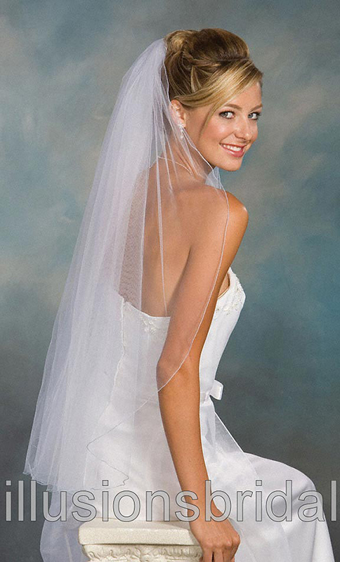 Illusions Bridal Colored Veils and Edges with Light Blue Corded Edge 1-361-C-LB: Pearl Accent