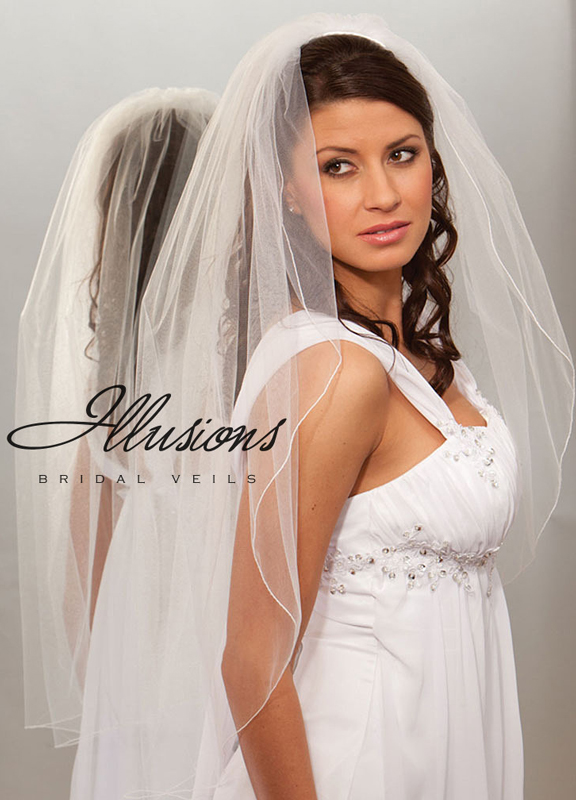 Illusions Bridal Corded Edge Veil 1-361-C: Rhinestone Accent