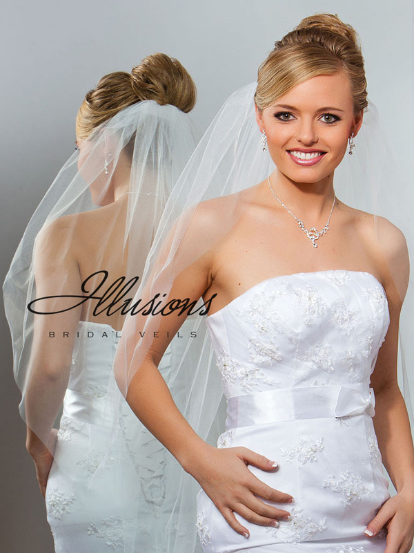 Illusions Bridal Cut Edge Veil 1-361-CT: Rhinestone Accent