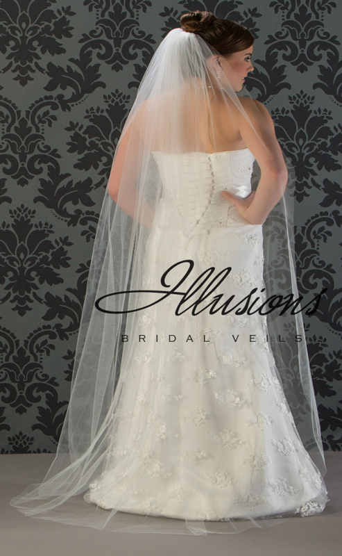 Illusions Bridal Cut Edge Wedding Veil 1-721-CT: Floor Length, Pearl Accent