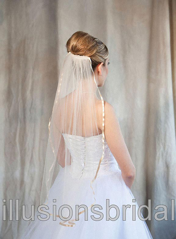 Illusions Bridal Colored Veils and Edges with Gold/Beige Ribbon Edge: Beige Veiling