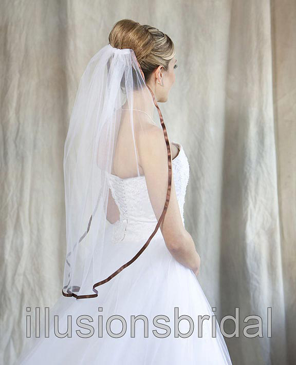 Illusions Bridal Colored Veils and Edges with Chocolate Ribbon Edge