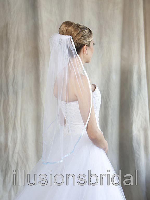Illusions Bridal Colored Veils and Edges 5-301-3R-LB with Light Blue Ribbon Edge