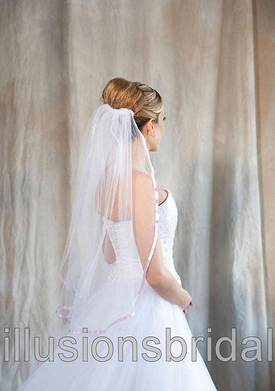 Illusions Bridal Colored Veils and Edges 5-301-3R-LV with Lavendar Ribbon Edge