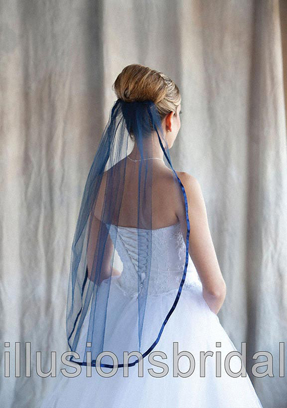 Illusions Bridal Colored Veils and Edges Ribbon Edge: Navy Blue Ribbon Edge