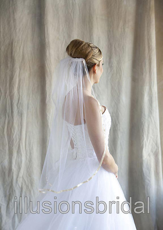 Illusions Bridal Colored Veils and Edges with Oyster Ribbon Edge