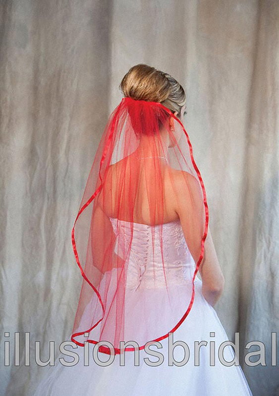Illusions Bridal Colored Veils and Edges: Red Ribbon Edge