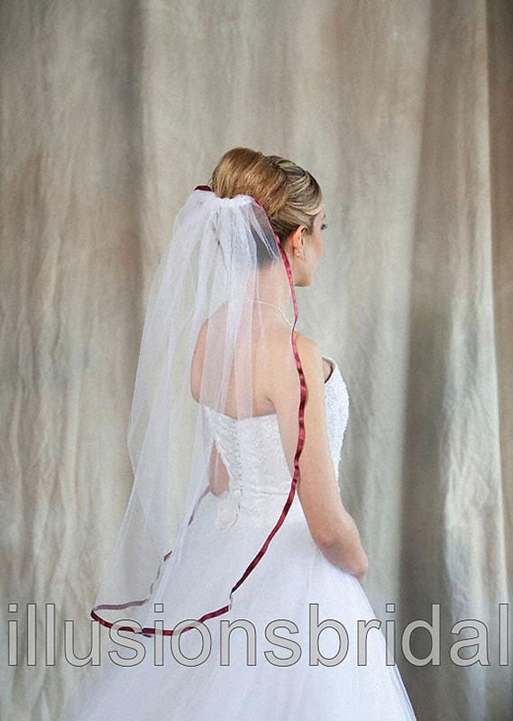 Illusions Bridal Colored Veils and Edges 5-301-3R-WN with Wine Ribbon Edge