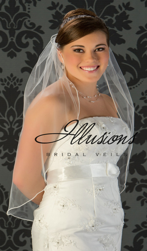 Illusions Bridal Pearl Edge Wedding Veil 5-301-P: Rhinestone Accent, 1 Layer Waist Length