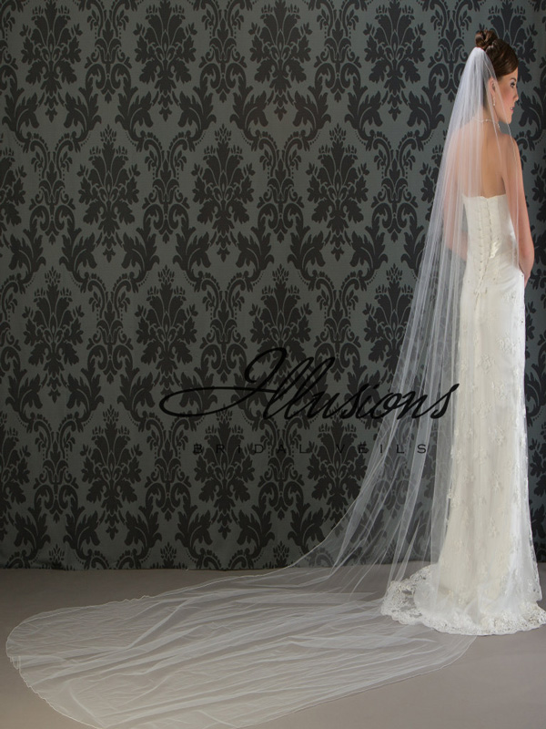 Illusions Bridal Corded Edge Veil 7-1441-C: Rhinestone Accent