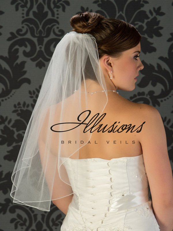 Illusions Bridal Corded Edge Veil 7-251-C: Pearl Accent, Waist Length, Simple