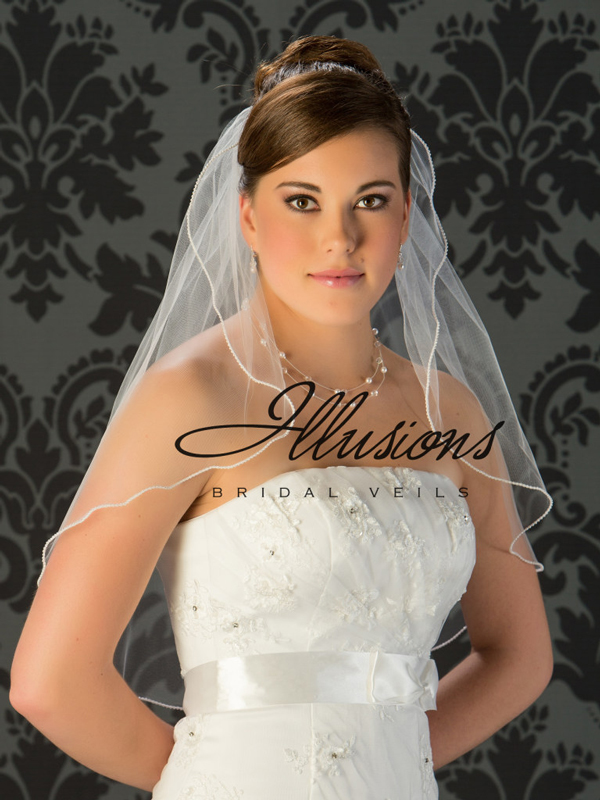 Illusions Bridal Pearl Edge Wedding Veil 7-251-P: Stylish, Rhinestone Accent