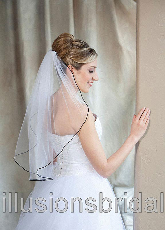 Illusions Bridal Colored Veils and Edges: Black Rattail Edge