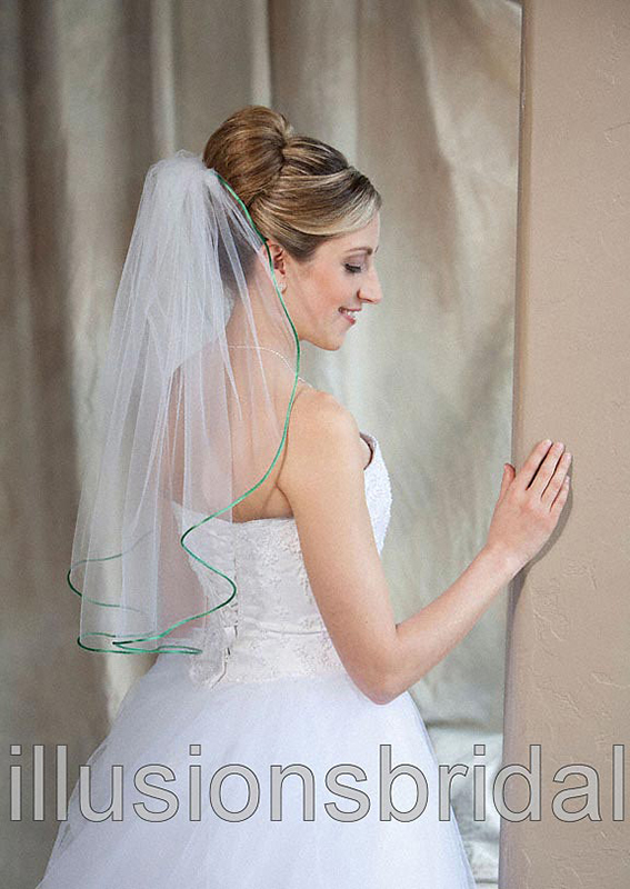 Illusions Bridal Colored Veils and Edges: Emerald Rattail Edge
