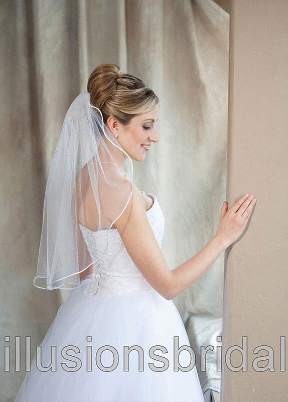 Illusions Bridal Colored Veils and Edges: White/Gold Rattail Edge