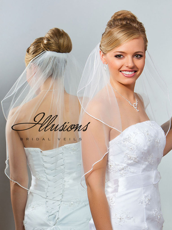 Illusions Bridal Soutache Edge Veil 7-251-ST: Rhinestone Accent