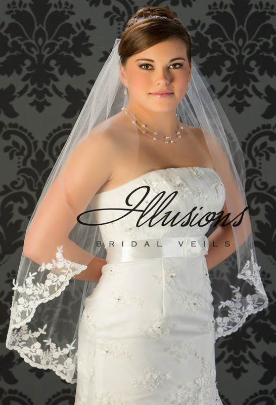 Illusions Bridal Lace Edge Veil 7-361-B4L: Pearl Accent