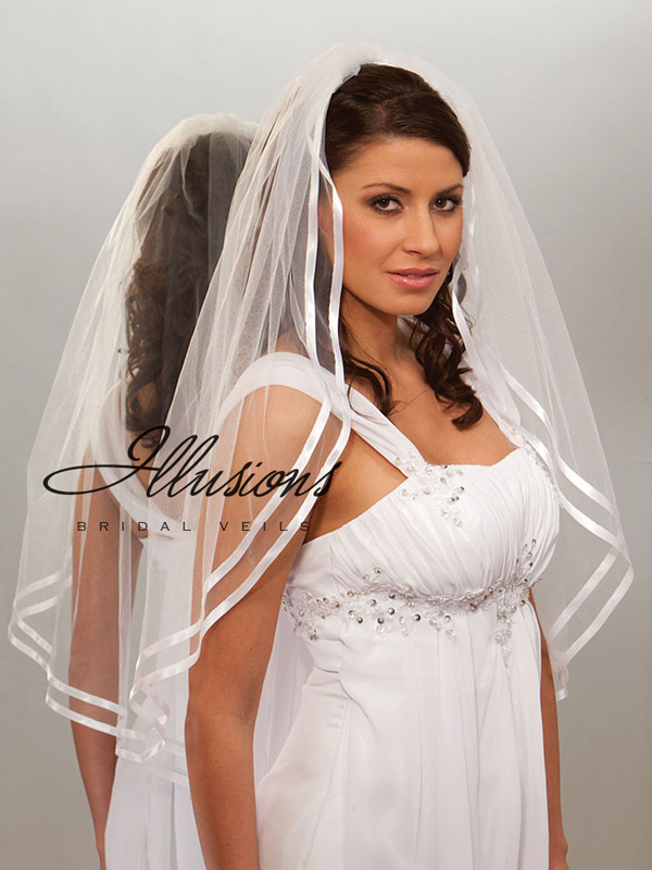 Illusions Bridal Ribbon Edge Veil 7-361-D3R: Pearl Accent