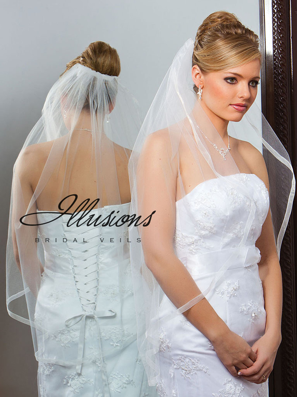 Illusions Bridal Ribbon Edge Veil 7-361-SR: Pearl Accent
