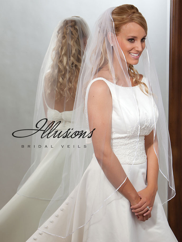 Illusions Bridal Ribbon Edge Veil 7-451-1R: Pearl Accent