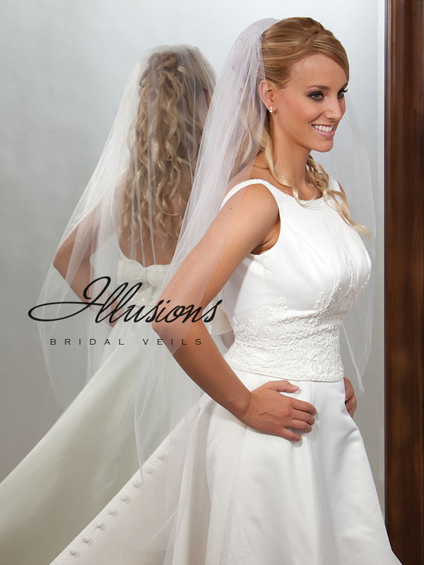 Illusions Bridal Cut Edge Veil 7-451-CT: Rhinestone Accent