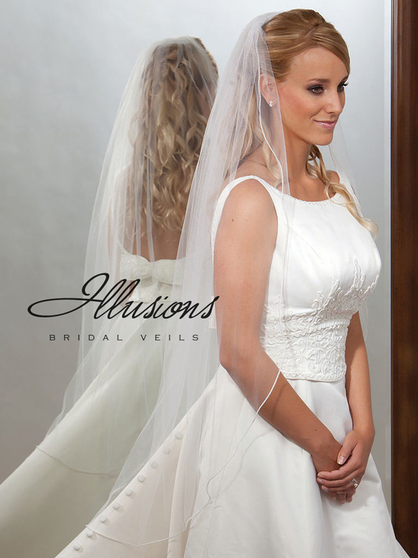 Illusions Bridal Pearl Edge Veil 7-451-P: Rhinestone Accent