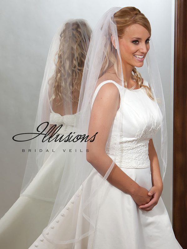 Illusions Bridal Ribbon Edge Veil 7-451-SR: Rhinestone Accent